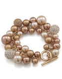 Carolee Crystal And Gold Pearl Charm Bracelet - Gold - Brown