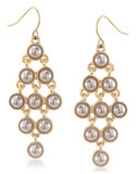 Carolee Champagne Bubbles Kite Chandelier Pierced Earrings Gold Tone Drop Earring - Silver