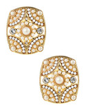 Carolee Rectangle Bead Clip On Earrings - gold