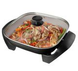 12 in. DuraCeramic Electric Skillet (Black & Silver)