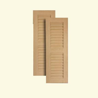 18 inch x 72 inch louvered shutters pair primed white for 18 inch louvered door