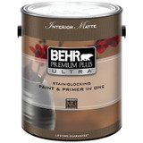 BEHR PREMIUM PLUS ULTRA Interior Matte Enamel Paint & Primer in One - Ultra Pure White;  3.79 L