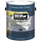 BEHR PREMIUM PLUS ULTRA Interior Satin Enamel Paint & Primer In One - Ultra Pure White;  3.79 L