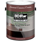 BEHR PREMIUM PLUS ULTRA Interior Eggshell Enamel Paint & Primer in One - Ultra Pure White;  3.79 L