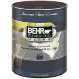 BEHR PREMIUM PLUS ULTRA Interior Satin Enamel Paint & Primer In One - Ultra Pure White; 946 ML