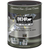 BEHR PREMIUM PLUS ULTRA Interior Semi-Gloss Enamel Paint & Primer in One - Ultra Pure White;  946 ML