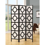 Folding Screen - 3 Panel / Black Frame'' Circle Design ''