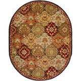 Abbaretz Red Wool Oval  - 8 Ft. x 10 Ft. Area Rug