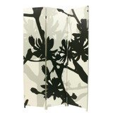 Bota Triple Canvas Screen; Floral Design In Black/White/Taupe.48 Inch X71 Inch X1 Inch