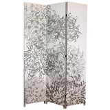 Bota Triple Canvas Screen; Chrysanthemum Pattern In Grey. 48 Inch X 71 Inch X1 Inch .