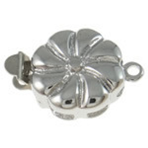 Box Silver Plated Single strand Flower Clasp