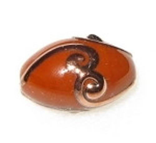 Oval Bohemian glass black copper bead 1