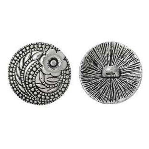 Round Antique Silver Round Button 2PCs