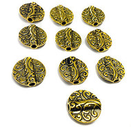10 tabular gold plated bead Spacers