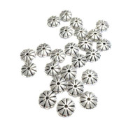12 PCS Flower Antique Silver Plated Round Beads