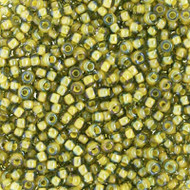 15/0 Light Olive Green Lined Crystal Clear Round Japanese Seed Beads