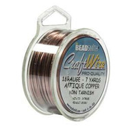 18 Ga Non Tarnish Antique Copper Craft Wire Round 7yd Spl