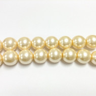 18mm Czech  Cream round smooth Glass Pearl 1
