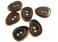 2 Hole Antique Copper Plated Oval Drop Shape Button
