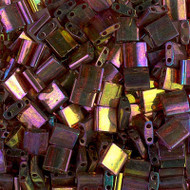 2 Hole Japanese Dark Topaz Rainbow Gold Luster Tila Glass Beads