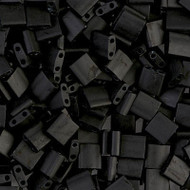 2 Hole Japanese Matte Opaque Black Tila Glass Beads
