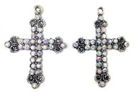 2 silver plated cross charms
