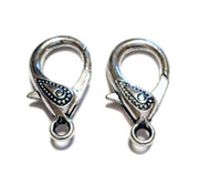 2 silver plated lobster claw Clasps
