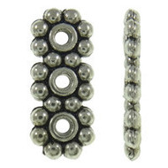 3 Strands Flower Spacer Beads Silver Plated