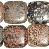 30mm Dakota Gemstone Square Mexican Red Snowflake Jasper Beads
