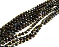 4mm Czech Black Green Iris Fire Polished Glass Beads