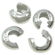 4mm Silver Plated Crimp Bead Cover