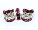 5mm Silver plated Fuchchsia rondelle spacer