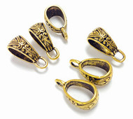 6 Antique Gold Plated bail findings