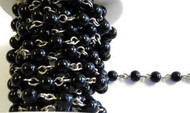 6mm Black Glass Beaded Silver Plated Chain By The Foot
