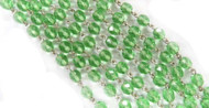 6mm Czech Green Fire Polished Silver-Plated Chain