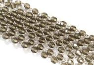 6mm Czech Smoke Topaz Fire Polished Silver-Plated Chain
