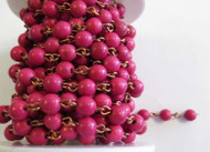 6mm Fuchsia Howlite Beaded Copper Plated Chain By The Foot
