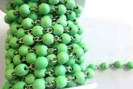 6mm Green Howlite Beaded Silver Plated Chain By The Foot