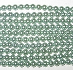6mm LT Green Czech round smooth Glass Pearl