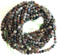 6mm Natural Faceted Agate Green multi tone Gemstone beads