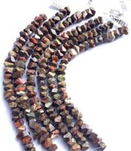 7x12mm Dakota- Gemstone Madagascar Rainforest Faceted Nugget Agate Beads