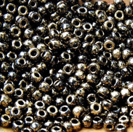 8-Japanese Marble Bronze Black Glass Seed beads 10 Gram