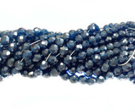 8mm Czech Dark Blue Luster Fire Polished Glass beads