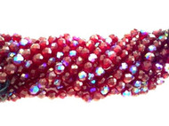8mm Czech Ruby Red AB Fire Polished Glass beads