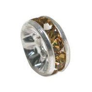 8mm Topaz crystal silver plated rondelle