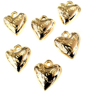 Acrylic Bright Gold Plated Heart Shape Charm