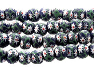 African Flower Recycled Glass Handmade Natural Beads