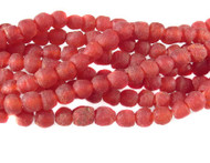 African Red Recycled Glass Handmade Natural Beads