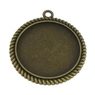Antique Brass Cabochon round Metal Pendant