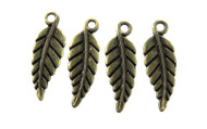 Antique Brass Fine Leaf Charm
